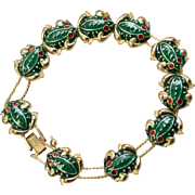 Cute Green Enamel Frog Charm Double Slider Goldtone Bracelet