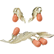 "Sarah Coventry Circa 1962 ""Bittersweet"" Coral Pink Flower Brooch/Pin & Clip Earrings Set"