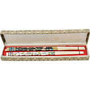 2 pairs of Chinese Teal Blue/Black and White Enamel Cloisonne & Bone Chopsticks in Original Brocade Fabric Box