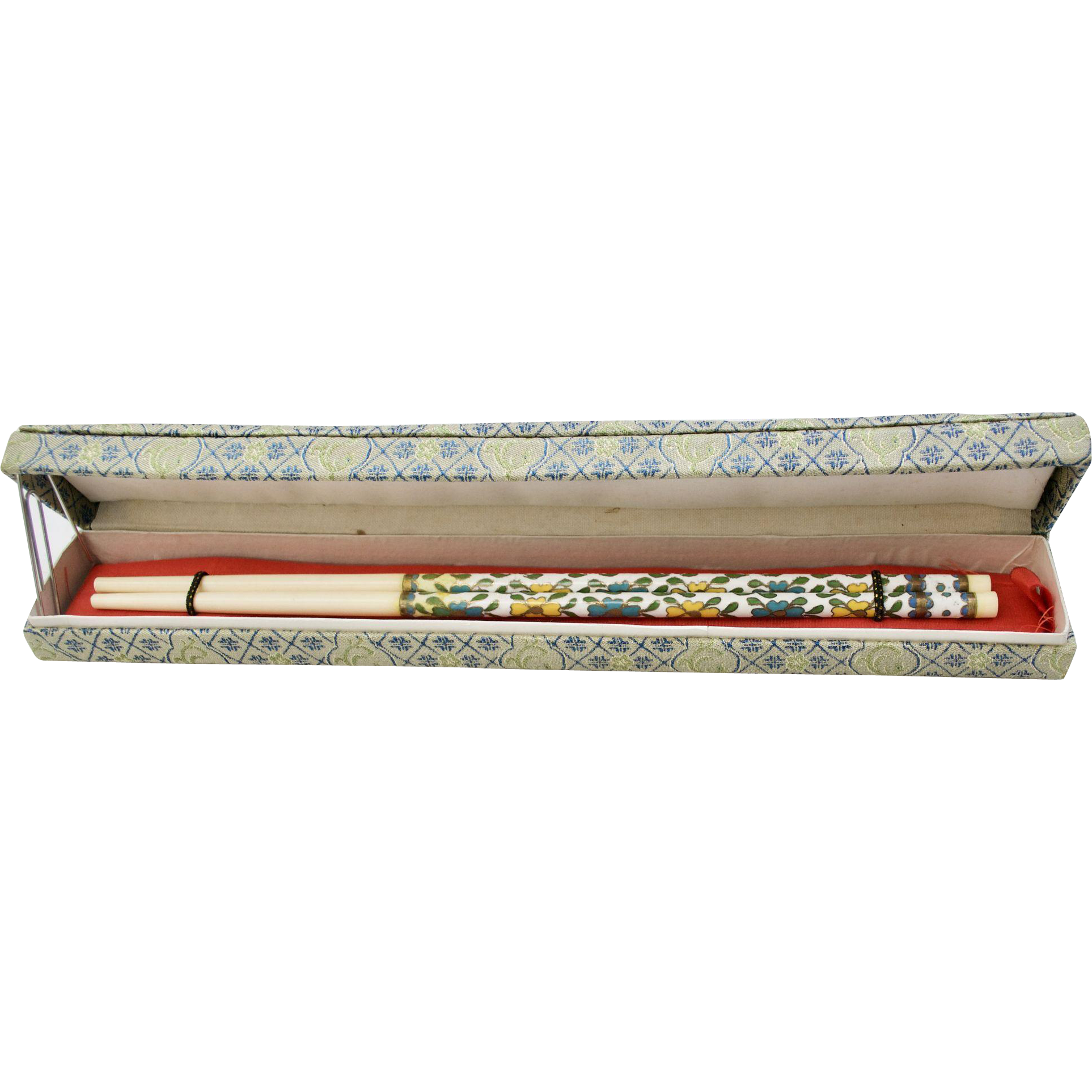 Pair of Chinese White Enamel Cloisonne and Bone Chopsticks in Original Brocade Fabric Box
