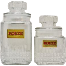 Set of 2 KOEZE Glass Candy Canister Jars w/Original Lids