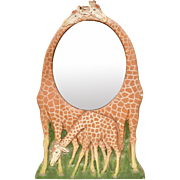 Country Carver Al Pisano Gentle Giraffe Oval Mirror Wall Plaque