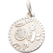 "Sterling Silver Spanish Angel ""Angelito de la Guarda Plis Cuidame"" Textured Charm"