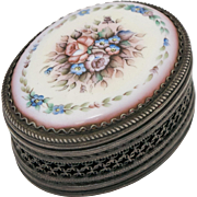 Pink & Blue Flowers on White Porcelain & Metal Filigree Trinket Box or Pill Box