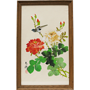 Signed Bird w/ Red & White Flowers Chinese Silkscreen Painting in Original Wood Frame
