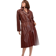 Etienne Aigner Designer Full Length Signature Brass Emblem Oxblood Leather Coat