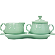 Fiesta Fiestaware Homer Laughlin Light Green Cream & Sugar w/ Figure 8 Tray Set