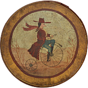 "Large Pennsylvania Dutch Signed ""Man On Bicycle"" Country Folk Art Painting on Round Wood Pantry Box w/ Lid"
