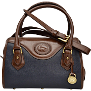 Dooney & Bourke Pebble Leather Satchel Handbag in Navy Blue & Burnt Cedar
