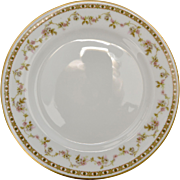 Theodore Haviland Limoges France Set of 4 Pink Roses Dinner Plates w/ Gold Trim