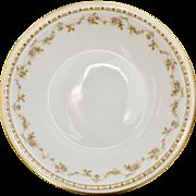 Theodore Haviland Limoges France Set of 12 Pink Roses Soup or Cereal Bowls w/ Gold Trim