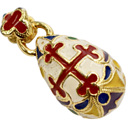 Heavy Enamel Fancy Red Cross Faberge Style Egg Pendant