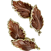 "Large 2"" Copper Brown Thermoset Autumn Leaf Goldtone Clip Earrings"