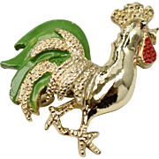 Signed Gerry's Small Enamel Goldtone Chicken Figural Scatter Pin