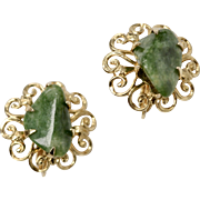 Signed Coro Polished Green Stone Goldtone Scrollwork Clip Earrings