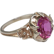 Russian Art Deco Era Sterling Silver Raspberry Deep Pink Sapphire Ring