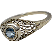Art Deco 14K White Gold Filigree Azure Blue Glass Stone Ring
