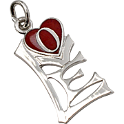 "New Old Stock Griffith Sterling Silver Iconic ""LOVE"" Red Enamel Heart Charm or Pendant"