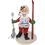 "Circa 1995 Annalee Skiing Santa Claus Christmas Doll 7"" Tall Soft Sculpture"