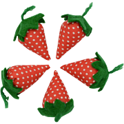 Handmade Felt & Fabric Red & White Polka Dot Strawberry Pin Cushion