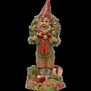 Circa 1986 Tom Clark Cairn Studio Christmas Gnome Elf w/ Wreath & Presents