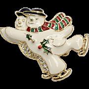 Signed SFJ White Enamel & Rhinestone Winter Snowman Christmas Holiday Brooch/Pin