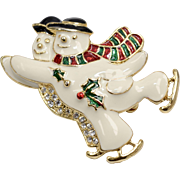 Signed SFJ White Enamel & Rhinestone Winter Snowman Christmas Holiday Brooch/Pin