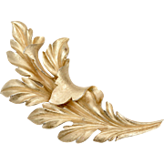 "Crown Trifari Signed Massive 4"" Brushed Goldtone Leaf Brooch/Pin"