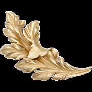 """Crown Trifari Signed Massive 4"""" Brushed Goldtone Leaf Brooch/Pin"""