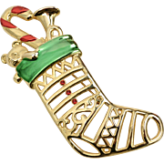"Signed Jonette Jewelry ""JJ"" Large Red & Green Enamel Openwork Christmas Stocking w/ Toys Goldtone Brooch/Pin"