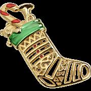 "Signed Jonette Jewelry ""JJ"" Large Red & Green Enamel Openwork Christmas Stocking w/ Toys Goldtone Brooch/Pin"