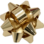 Heavy Goldtone Christmas Present Holiday Gift Bow Brooch/Pin