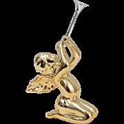 Retired Department 56 Metallic Gold & Silver Cupid Angel w/ Trumpet Horn Ceramic Christmas Figurine Sculpture