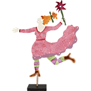 Retired Judie Bomberger Signed Cirque du Soleil Circus Die-Cut Painted Metal Folk Art Sculpture