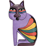 Colorful Laurel Burch Feline Cat Carved Wood Purple Painted Figurine Sculpture