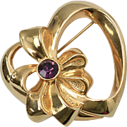 Signed Avon February Birthstone Simulated Purple Amethyst Goldtone Heart Brooch/Pin w/ Original Box