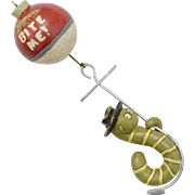 "Whimsical ""Bite Me"" Fishing Float/Bobber & Worm on Hook 5"" Long Christmas Ornament"