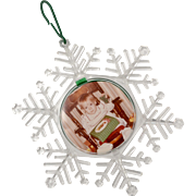 "Large ""Seasons Greetings"" Removable Photo Christmas Snowflake Ornament"