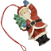 Circa 1960s Waving Santa Claus w/ Christmas Tree Ornament