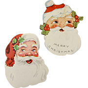 Set of 2 Christmas Santa Colorful Paper Die-Cut Gift Labels