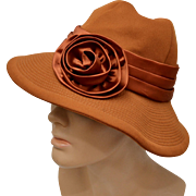Circa 1960s Charo Original Burnt Sienna Deep Orange w/ Satin Bow Hat