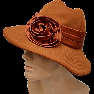 Circa 1960s Charo Original Burnt Sienna Deep Orange w/ Satin Bow Hat