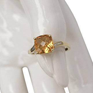 Signed AFJC 10K Gold Cushion Cut Citrine w/ Diamond Accent Ring