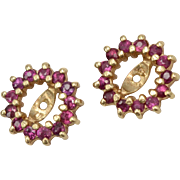 14k Gold Genuine Ruby Earring Jackets