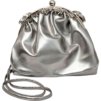 Victorian Revival Metallic Silver Leather Made in Italy Shoulder Purse