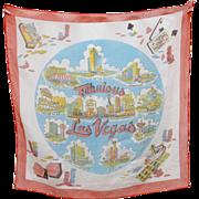 """Circa 1950s """"Fabulous Las Vegas!"""" Sheer Organza Fabric Souvenir Neck Scarf"""