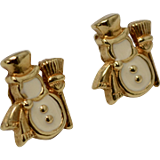 Avon Signed White Enamel Snowman Goldtone Stud Earrings