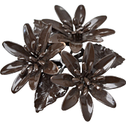 Large Chocolate Brown Enamel Triple Flower Cluster Brooch/Pin