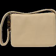 Adrienne Vittadini Genuine Italian Camel Beige Leather Handbag Purse w/ Faux Tortoise Lucite Strap Accent