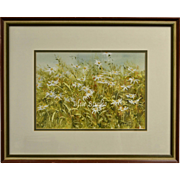 "Signed Lynda Tate Original ""Field of Daisies"" Watercolor Painting in Original Frame"